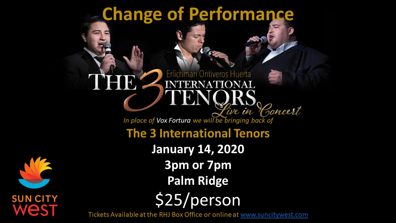 3 International Tenors returning to Sun City West